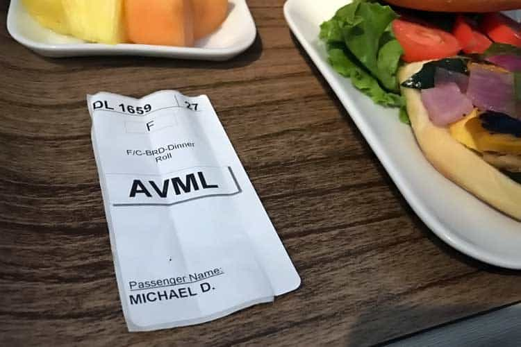 AVML meal in first class on Delta