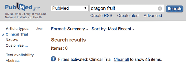 clinical trials for dragon fruit