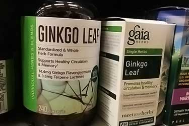 bottles of ginkgo biloba for sale at Whole Foods