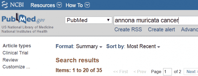 cancer research results listed on PubMed