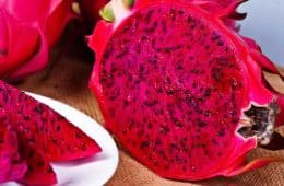 fresh red dragon fruit sliced