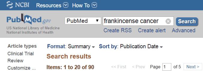 frankincense cancer results on PubMed