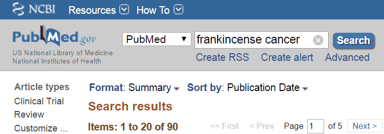 frankincense cancer results on PubMed