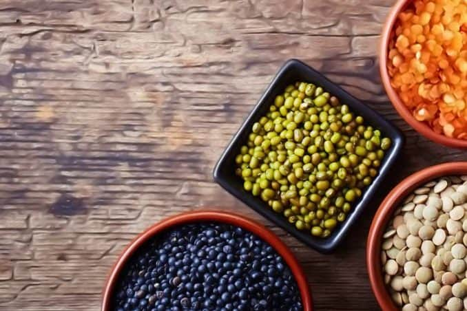 bowls of dried lentils and beans