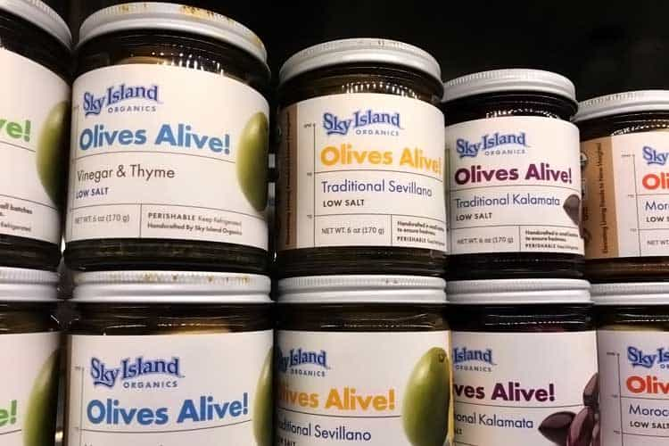 jars of low salt olives