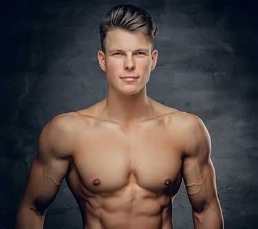 young shirtless male bodybuilder