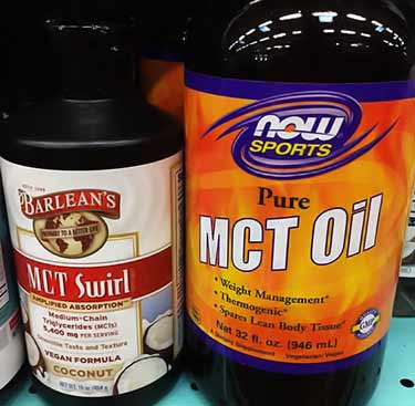 Now Sports MCT oil bottle on store shelf