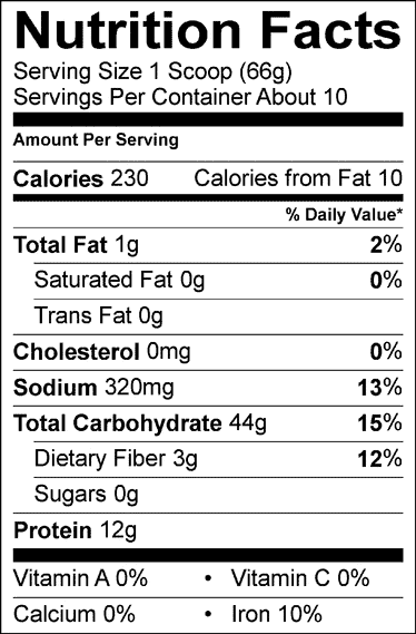 Wholesome Chow nutrition facts label