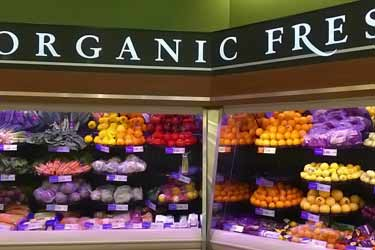 organic produce department at supermarket