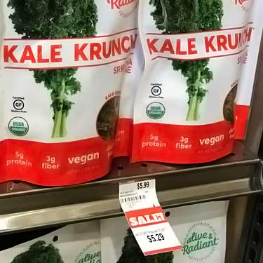 cost of Alive and Radiant Kale Krunch chips at grocery store