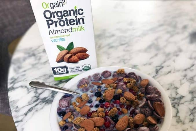 plant based alternative Orgain in bowl of cereal