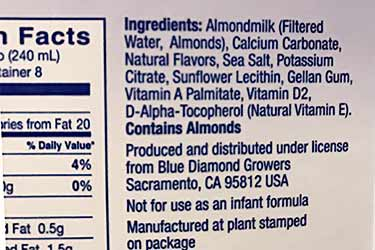 Almond Dream unsweetened vanilla nutrition facts label