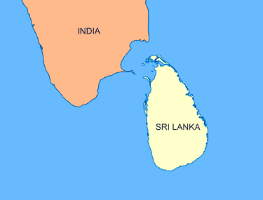 map of India and Sri Lanka