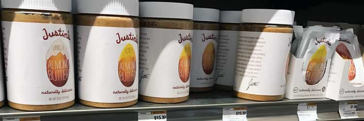 Justin's vanilla and honey almond butter for sale at grocery store