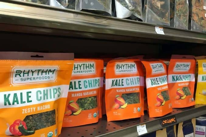 bags of Rhythm kale chips for sale at Erewhon store