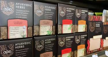 ayurvedic herbs for sale on store shelf