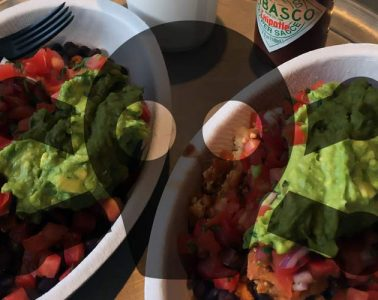 Chipotle vegan Sofritas bowl with toxic symbol