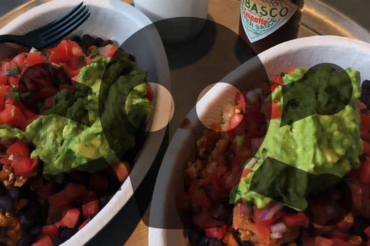 Chipotle vegan Sofritas bowl with toxic symbol