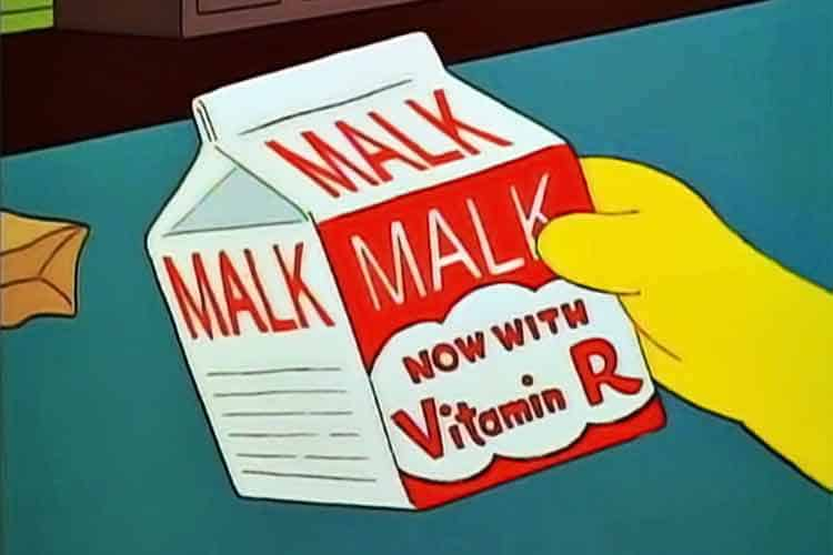 Bart Simpson holding carton of Malk with vitamin R