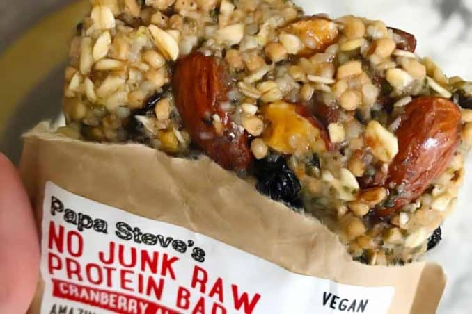 Papa Steve's raw protein bar, cranberry almond flavor