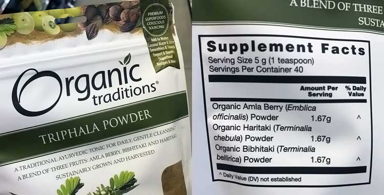 Organic Traditions triphala supplement facts nutrition label