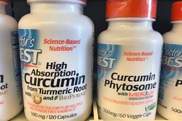 Doctor's Best curcumin bottles, Meriva and Bioperine