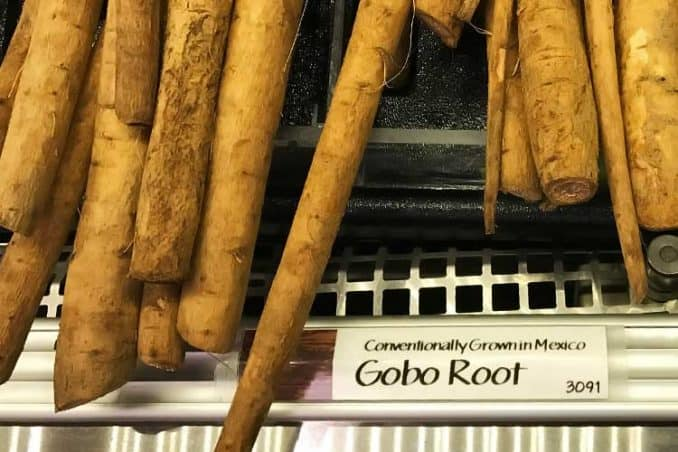 fresh raw gobo roots at grocery store