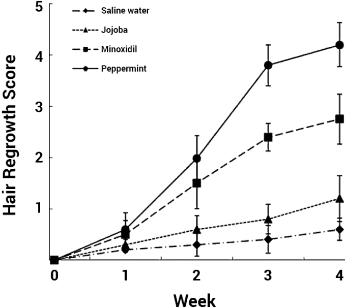 chart showing hair growth with peppermint vs. other treatments