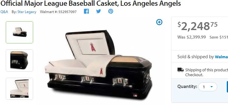 bizarre casket for sale at Walmart