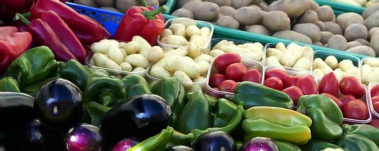 fresh eggplant, red and bell peppers, hot peppers, white potatoes, russet potatoes