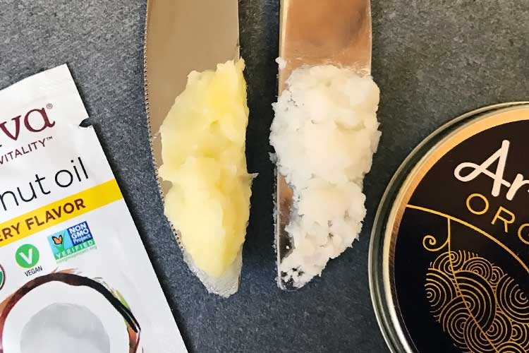 photo of coconut oil and butter side by side