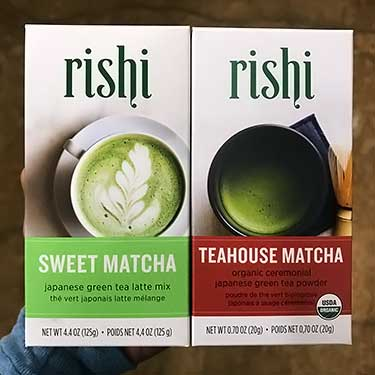 Rishi sweet matcha and teashouse flavors