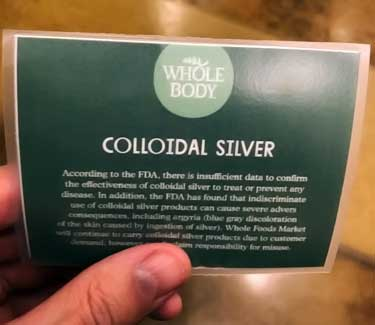 safety warning about colloidal silver