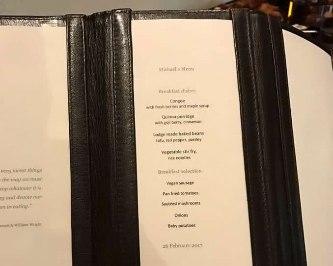 Singita food menu for breakfast