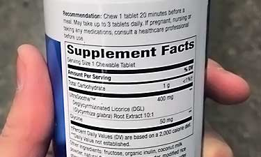 DGL supplement facts label