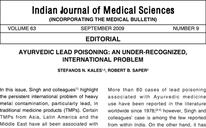 headline about lead poisoning from ayurveda medicine herbs