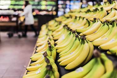 Dole bananas for sale at the supermarket