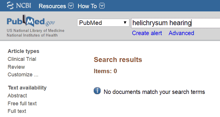PubMed results for helichrysum and hearing