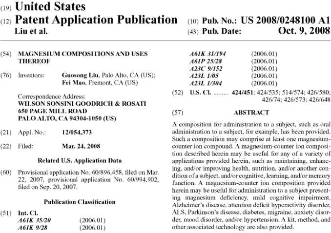 US patent application for Magtein