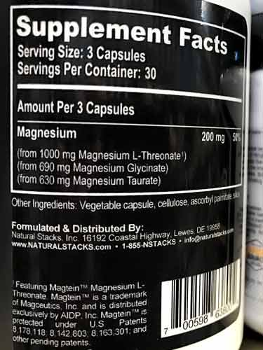 Natural Stacks Magtech supplement facts label