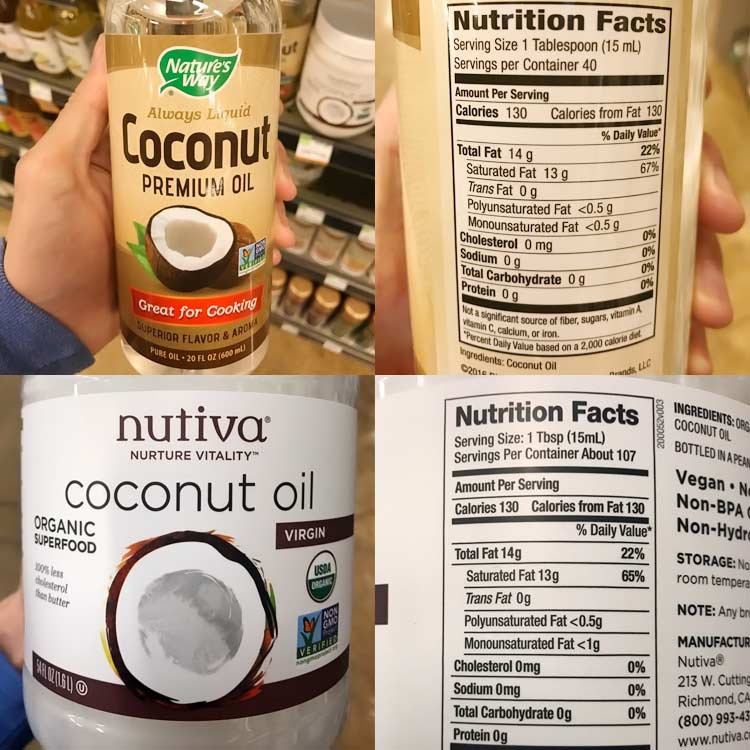 nutrition fact labels for Nature's Way fractionated and Nutiva virgin coconut oils