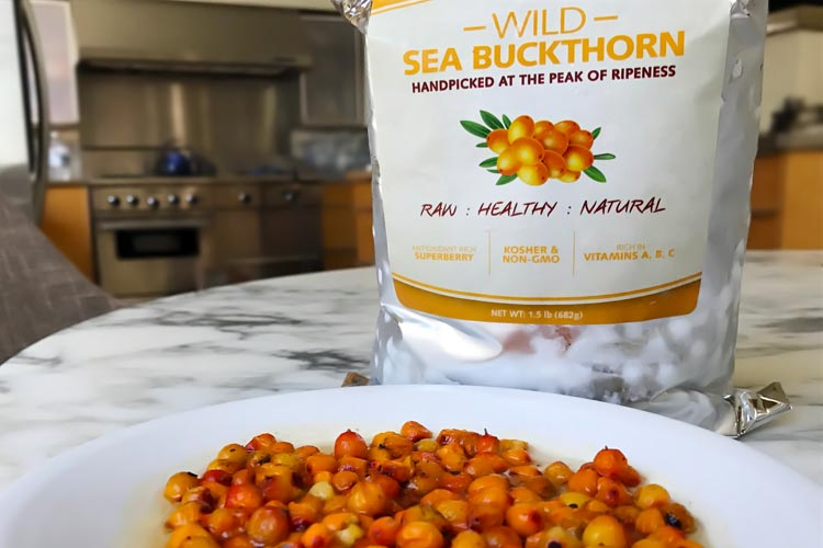 fresh raw sea buckthorn berries