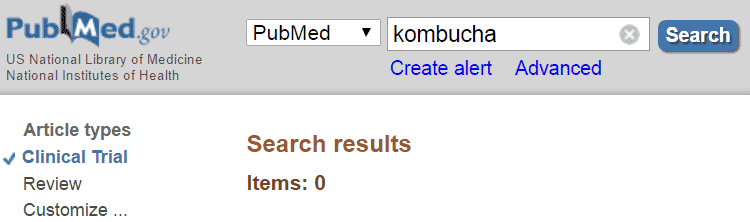 clinical trials for kombucha in PubMed database