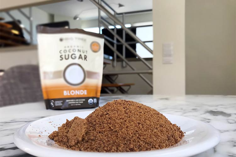bag of organic coconut sugar and what it looks like closeup