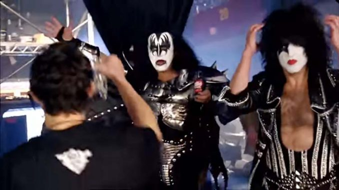 Kiss band with cherry Dr. Pepper backstage