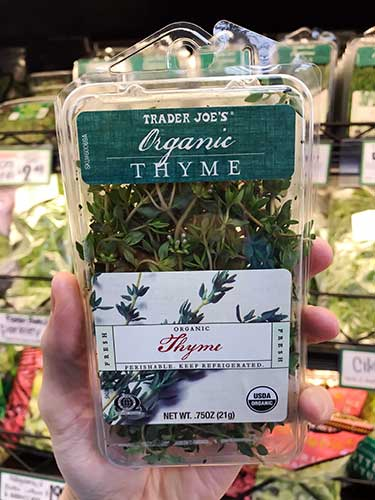 fresh thyme for sale at Trader Joe's
