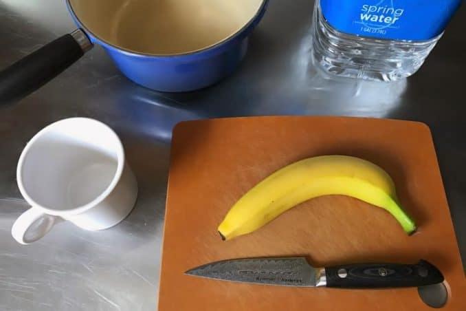 ingredients and supplies for making banana peel tea