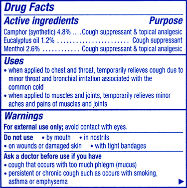 Vicks Vaporub drug facts label showing ingredients list