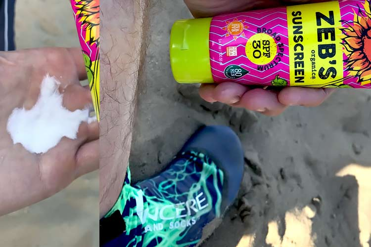 Zeb's organic sunscreen in palm of hand and on leg