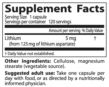 supplement facts for lithium aspartate